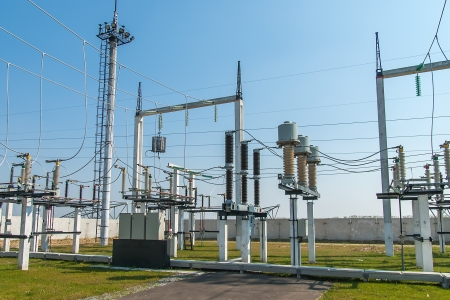 isolator high voltage: Part of high-voltage substation with switches and disconnectors Stock Photo
