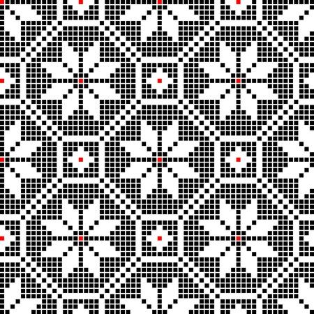 needlecraft: seamless embroidered good like handmade cross-stitch ethnic Ukraine pattern