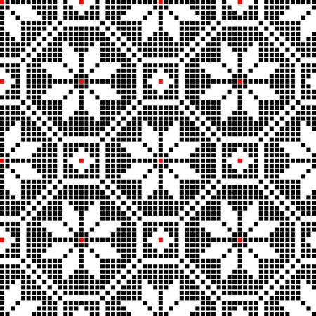punto cruz: sin costura bordado bien como patrón hecho a mano en punto de cruz étnico Ucrania Vectores