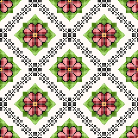 seamless embroidered good like handmade cross-stitch ethnic Ukraine pattern Stock Vector - 17755146