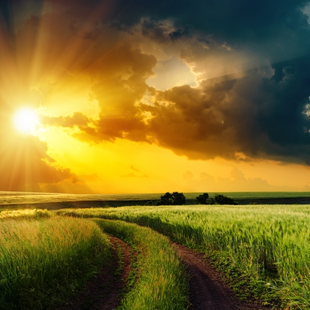 dramatic sunset over rural road in green field photo