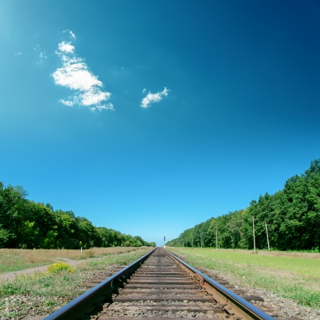 railway points: deep blue sky over old railroad Stock Photo