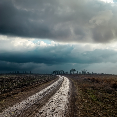 dirty road to cloudy horizon photo