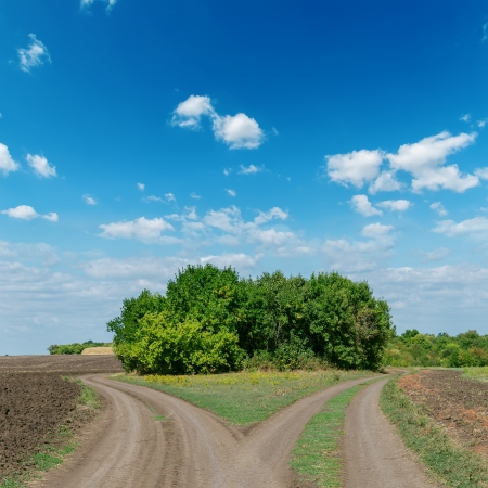 dirtroad: two dirty road and clouds on sky Stock Photo