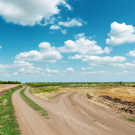 two dirty roads under blue cloudy sky photo