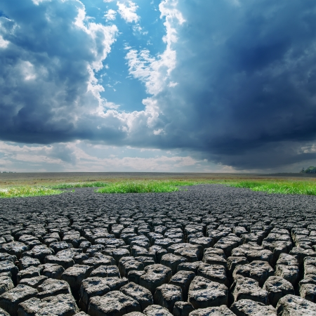 hot climate: global warming. cracked earth and dark clouds Stock Photo