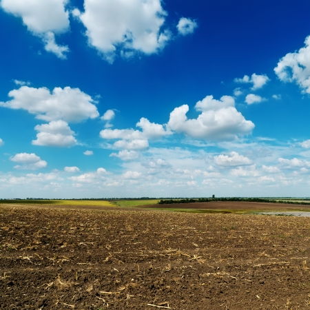tillage: blue cloudy sky over plowed field