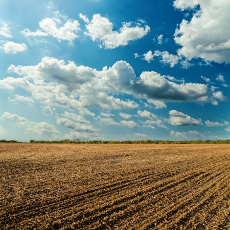 plowed field and cloudy sky in sunset Stock Photo
