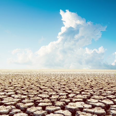 arid climate: global warming. hot weather in desert under clouds