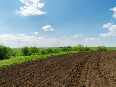 tillage: black plowed field and blue sky with clouds
