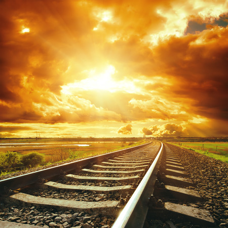 dramatic sky and railroad photo