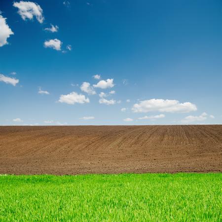 green grass and black plowed fields under blue sky