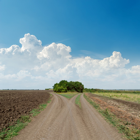 turn away: two rural roads to horizon and clouds in blue sky