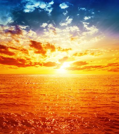 colorful sky: good orange sunset over sea