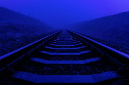 railway track: railroad closeup in night with moon light