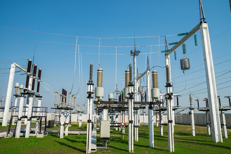 power distribution: Part of high-voltage substation with switches and disconnectors Stock Photo