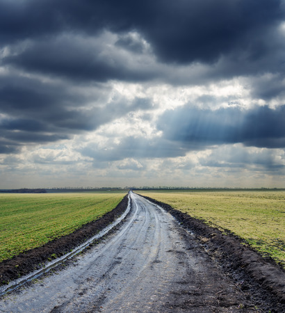 country road: dirty road to horizon and dramatic sky. rain before Stock Photo