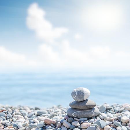 zen like: zen like stones on beach. soft focus Stock Photo