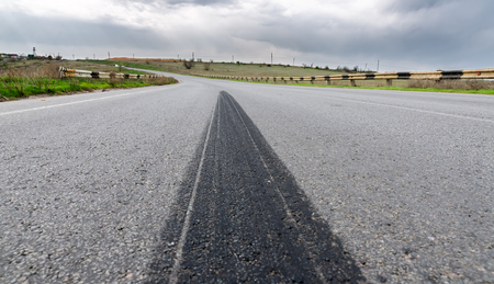 frenos: Los frenos mapa en primer plano de asfalto Foto de archivo