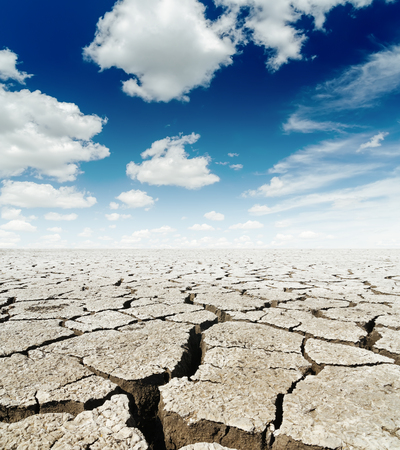 drought land and dramatic sky over it Stock Photo