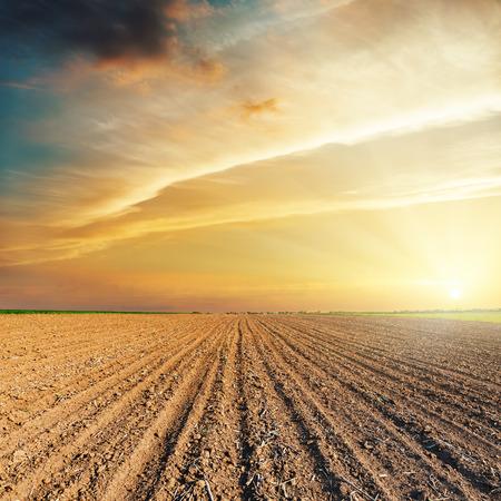 plowed: dramatic orange sunset and plowed field