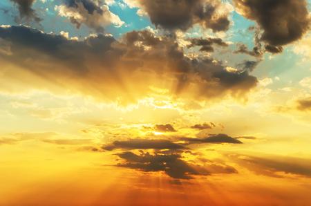 orange sunset: orange sunset in dramatic clouds Stock Photo