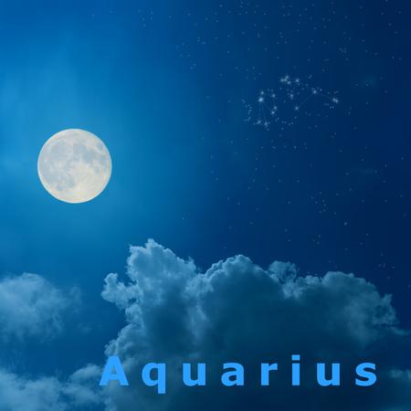 waterbearer: full moon in the night sky with design zodiac constellation Aquarius