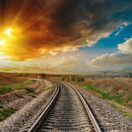 orange sunset: good orange sunset over railroad