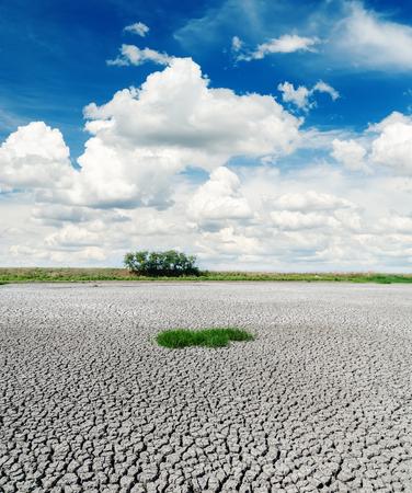 soil erosion: deep blue sky over drought earth