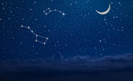 Ciel nocturne avec la constellation d'Ursa Major et Ursa Minor et l'étoile du Nord. Comment trouver le Polaris Banque d'images
