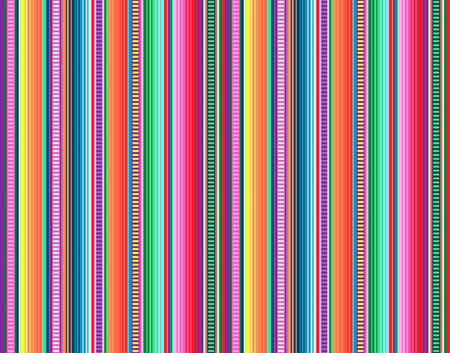 Deckenstreifen nahtloses Vektormuster. Hintergrund für Cinco de Mayo Partydekor oder ethnisches mexikanisches Stoffmuster mit bunten Streifen. Serape Design