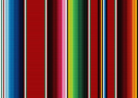 Coperta strisce modello vettoriale senza soluzione di continuità. Sfondo per decorazioni per feste Cinco de Mayo o motivo in tessuto etnico messicano con strisce colorate. Design Serape