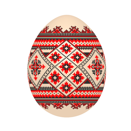 the easter egg with ukrainian cross-stitch ethnic pattern. pysanka ornament. isolated vector. Vetores