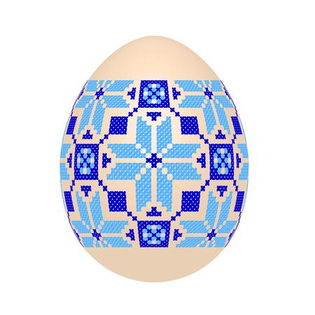 El huevo de Pascua con estampado étnico ucraniano en punto de cruz. Adorno de Pysanka. Aislado en un fondo blanco, ilustración vectorial. Ilustración de vector