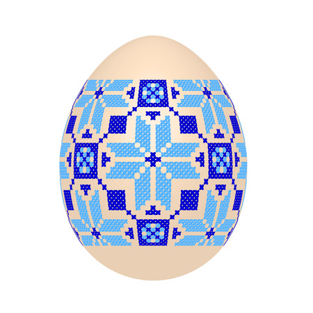 The Easter egg with Ukrainian cross-stitch ethnic pattern. Pysanka ornament. Isolated on a white background, vector illustration. 向量圖像