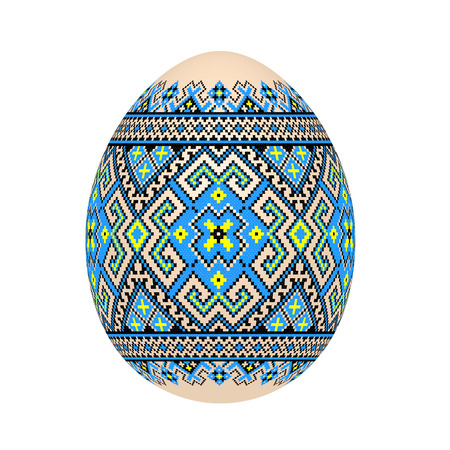 The Easter egg with Ukrainian cross-stitch ethnic pattern. Pysanka ornament. Isolated on a white background, vector illustration.