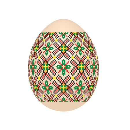 El huevo de Pascua con estampado étnico ucraniano en punto de cruz. Adorno de Pysanka. Aislado en un fondo blanco, ilustración vectorial.