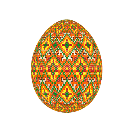 the easter egg with ukrainian cross-stitch ethnic pattern. pysanka ornament. isolated vector.