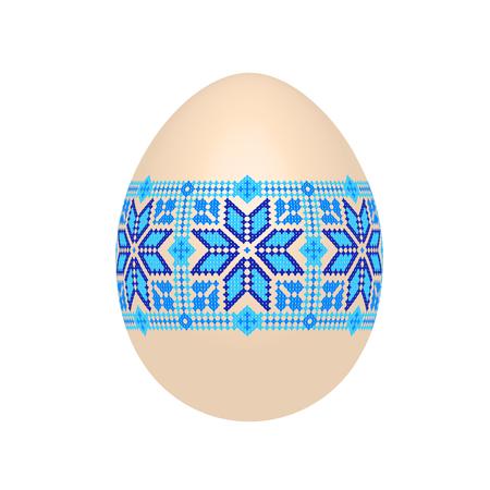 l'oeuf de Pâques avec motif ethnique ukrainien au point de croix. ornement de pysanka. vecteur isolé.