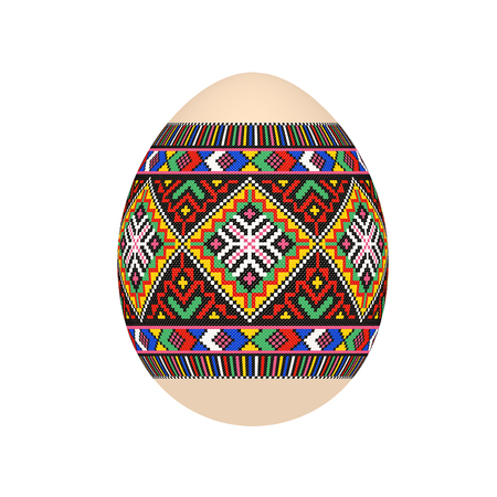 el huevo de pascua con estampado étnico de punto de cruz ucraniano. adorno pysanka. vector aislado.