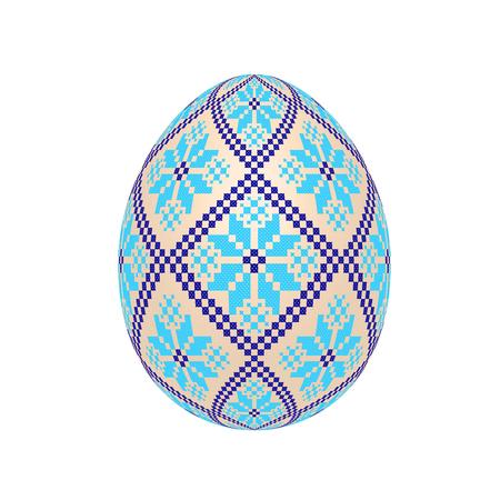 el huevo de pascua con estampado étnico de punto de cruz ucraniano. adorno pysanka. vector aislado. Ilustración de vector