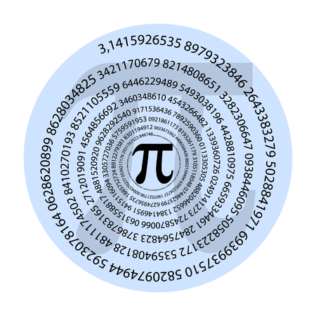 the number of pi in a spiral and many numbers after the decimal point