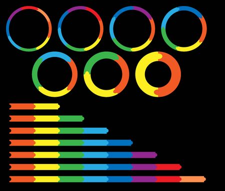 vector infographic circles and lines. Set of colorful charts