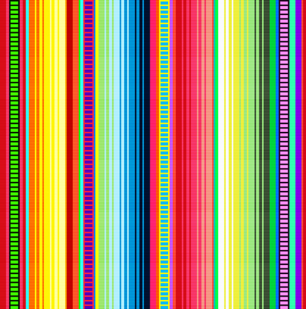Blanket stripes vector pattern. Background for Cinco de Mayo party decor or ethnic mexican fabric pattern with colorful stripes. Serape design with trendy colors. Vector Illustration