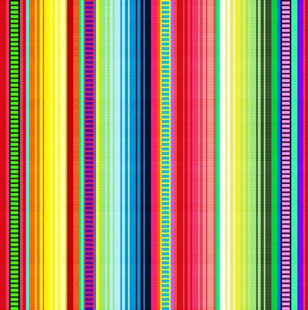 Deken strepen vector patroon. Achtergrond voor Cinco de Mayo feest decor of etnische Mexicaanse stof patroon met kleurrijke strepen. Serape design met trendy kleuren. Vector Illustratie