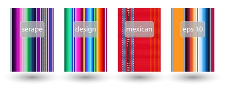 set of mexican rug pattern. serape stripes vector. detail background with mexican colors. creative colored cover design. Illustration