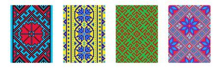 Set of ethnic background in cross-stitch style.  Traditional ukrainian decor.  イラスト・ベクター素材