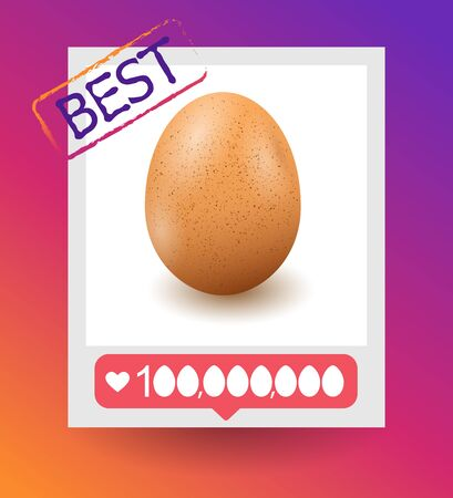 Realistic egg on white background with shadow. Vector