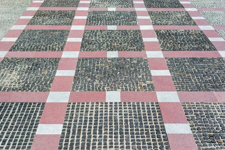 modern cobblestone in old style with red blocks