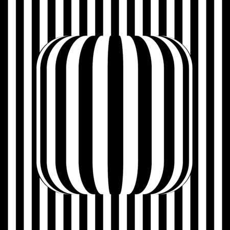 black and white lines with shape in center. Optical illusion